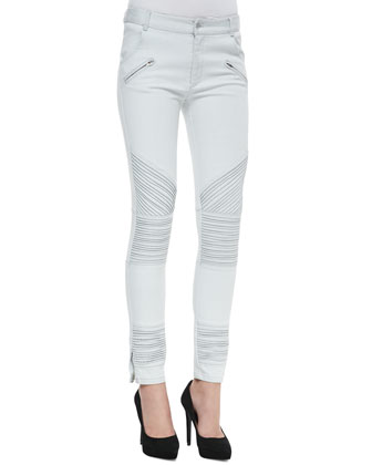Paper Thin Sheer Cross-Neck Top & New Life Ribbed Moto Jeans
