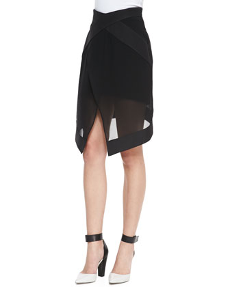 Top Floor Boat-Neck Blouse & Lightweight Chiffon Faux-Wrap Skirt