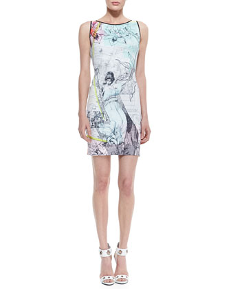 Drawing-Print Sleeveless Jersey Dress