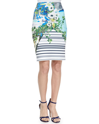 Corfu Printed Swirl Pencil Skirt