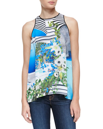 Corfu Mixed-Print Loose Top