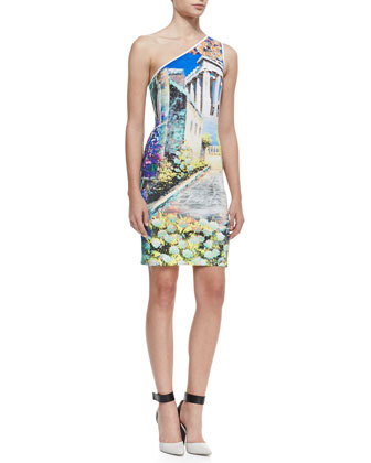 Garden of Athena One-Shoulder Dress