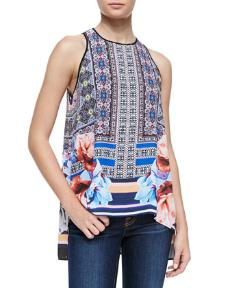 Byzantine Mixed-Print Scarf Top