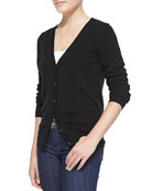 Button-Front Cashmere Cardigan, Black