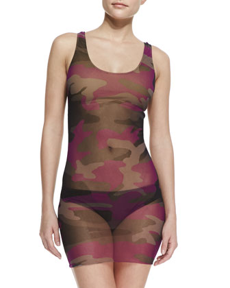 Camouflage Sheer-Overlay Tankini