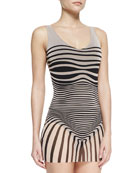Optical Tulle-Overlay One-Piece