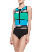 Striped/Colorblock Front-Zip Swimsuit