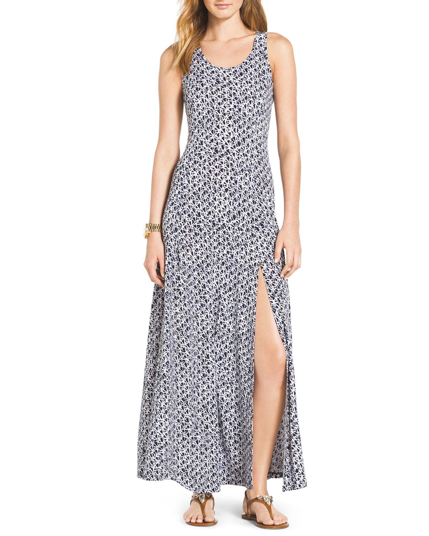 Sleeveless Slit Hem Maxi Dress, Womens   MICHAEL Michael Kors   Navy (1X)