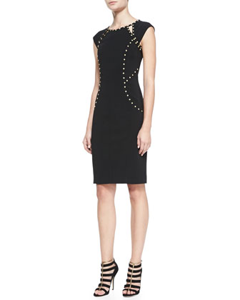 Cap-Sleeve Sheath Dress with Studs