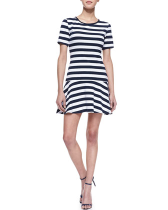 Mason Striped Drop-Skirt Dress, Navy/Chalk (Stylist Pick!)
