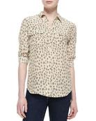 Slim Signature Silk Leopard-Print Blouse