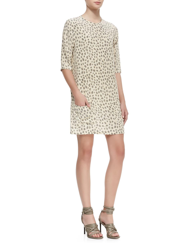 Womens Aubrey Leopard Print Shift Dress   Equipment