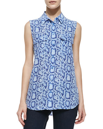 Slim Signature Snake-Print Silk Sleeveless Blouse