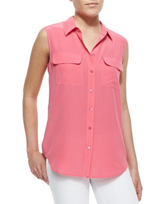 Slim Signature Silk Sleeveless Top