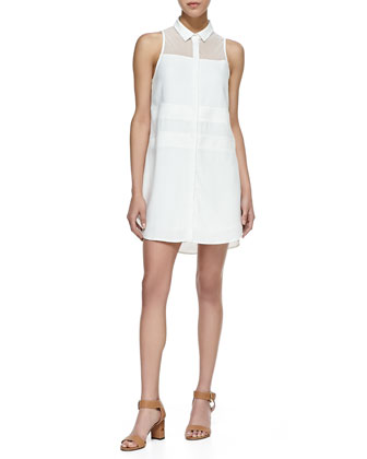 Henie Sleeveless Paneled Shirtdress