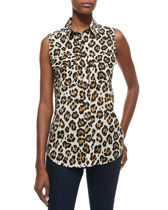 Signature Slim Sleeveless Printed Blouse
