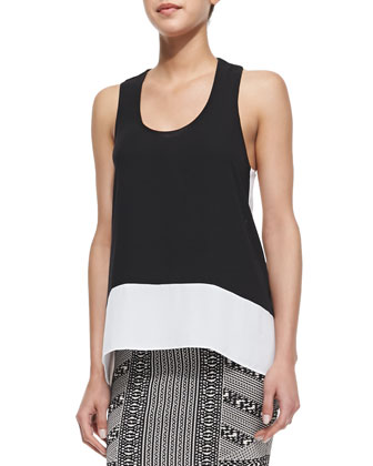 Allison Arched Cutout Back Top, Black/White