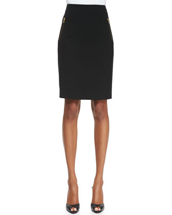 Sleeveless Ribbed Peplum Pullover & Zip-Pocket Slim Skirt