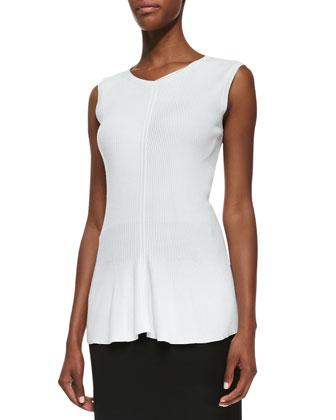 Sleeveless Ribbed Peplum Pullover