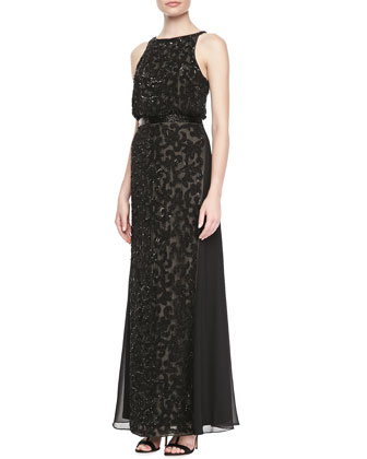 Halter Blouson Lace Gown, Black