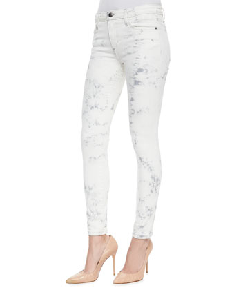 Jay Super Chic Skinny Ankle Jeans, Light Gray Tie Dye