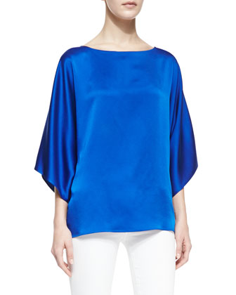 Boat-Neck Charmeuse Top, Sapphire