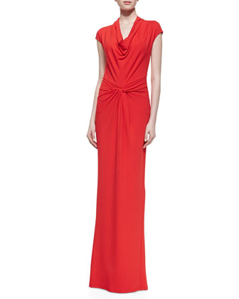 Draped Matte Jersey Gown, Coral