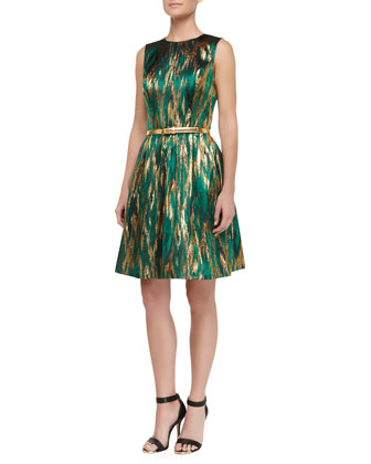Metallic Ikat Jacquard Fit-And-Flare Dress, Emerald/Gold