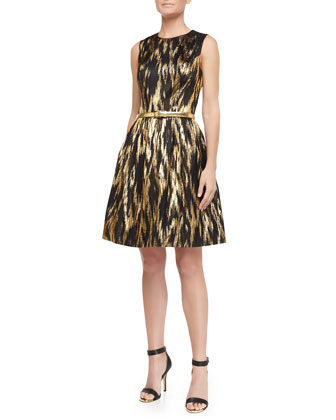 Metallic Ikat Jacquard Fit-And-Flare Dress, Black/Gold