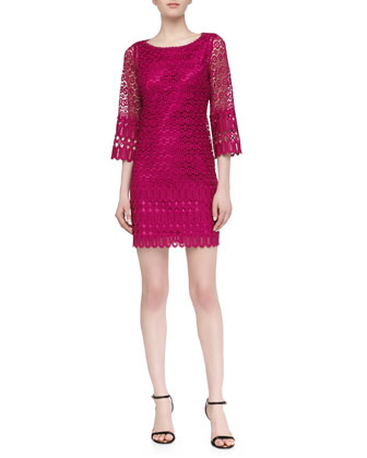 Mixed Venice Lace Shift Dress, Ultra Berry