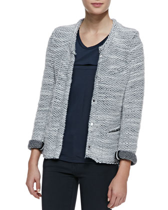 Carene Braid-Trim Knit Jacket, Morris Sleeveless Jersey Tank & Aleka ...