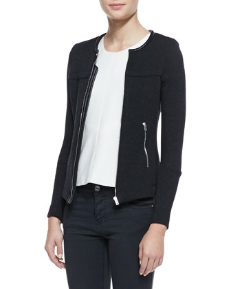 Clever Front-Zip Knit Jacket, Cherie Sleeveless Loose Side-Zip Top & Aleka ...