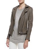Tara Front-Zip Leather Jacket