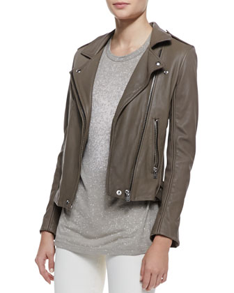 Tara Front-Zip Leather Jacket