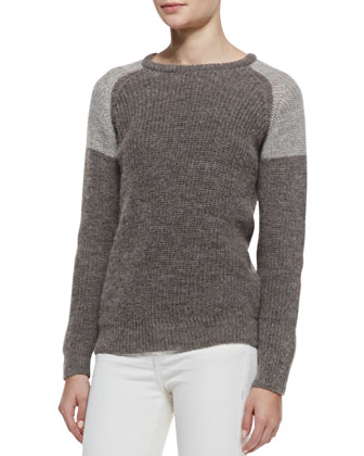Piper Two-Tone Ribbed Sweater & Liya Low-Rise Slim Jeans