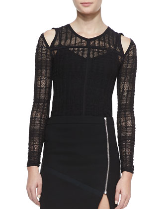 Camille Lace Cold-Shoulder Top & Warol Asymmetric Front-Zip Skirt