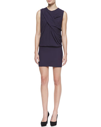 Bredy Drape-Front Sleeveless Jersey Dress, Dark Purple