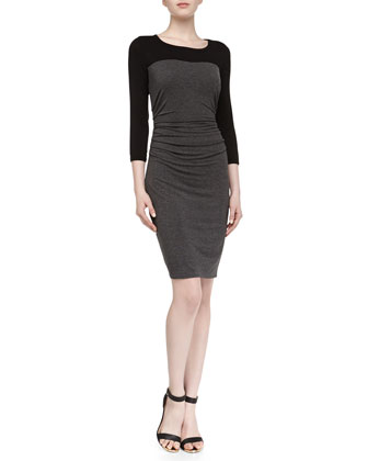 3/4-Sleeve Contrast Fitted Stretch-Jersey Dress, Dark Charcoal