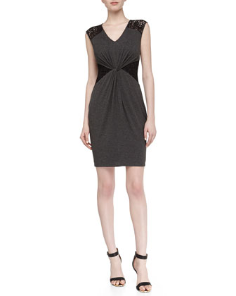 Sleeveless Lace Stretch-Knit Dress, Dark Charcoal