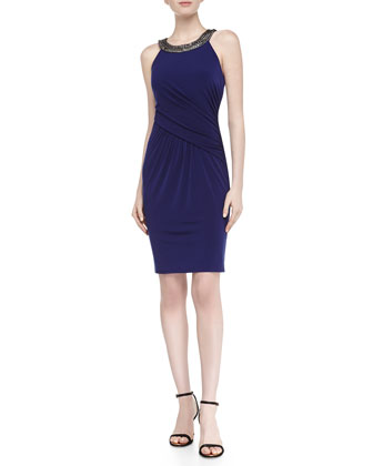 Sleeveless Halter Chain Jersey Dress, Moody Blue