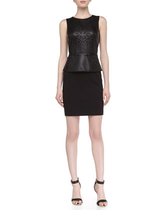 Sleeveless Faux-Leather Cutout Peplum Dress, Black