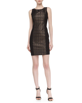 Sleeveless Metallic Jacquard Dress, Black Multi
