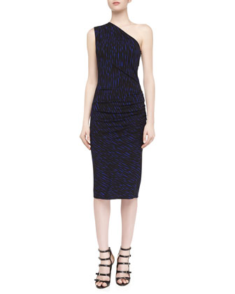 Off-The-Shoulder Draped Brushstroke Print Dress, Sapphire/Black