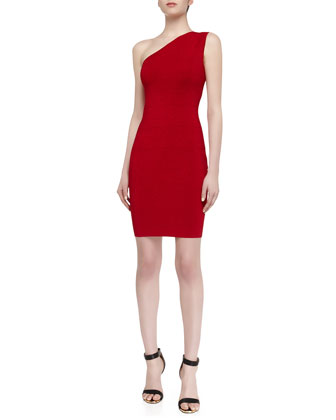 One-Shoulder Shimmer Sweater Dress, Parisian Red