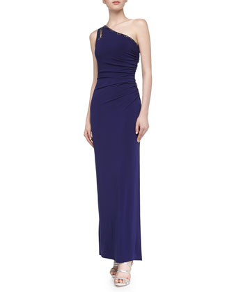 One-Shoulder Jersey Gown, Moody Blue