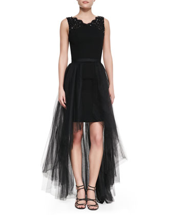 High-Low Tulle Skirt, Black
