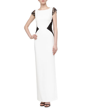 Sleeveless Lace-Cutout Satin Gown, Warm White Multi