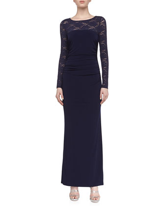 Lace Matte Jersey Gown, Inkblot