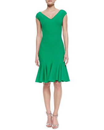 V-Neck Godet Cocktail Dress