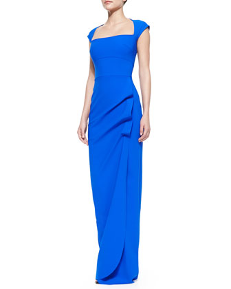 Cap-Sleeve Ruffle-Side Column Gown, Blue